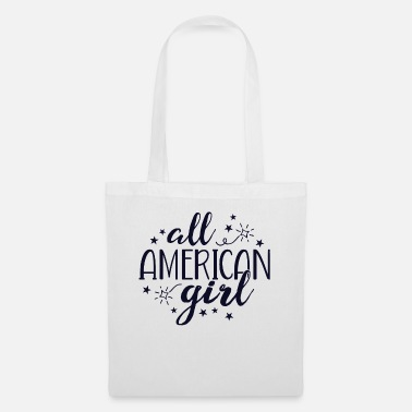 Blue White All American Girl TShirt Women 4th of July - Tote Bag