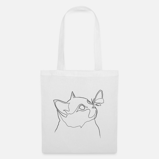 Nose Bags & Backpacks - British shorthair cat with butterfly on nose - Tote Bag white