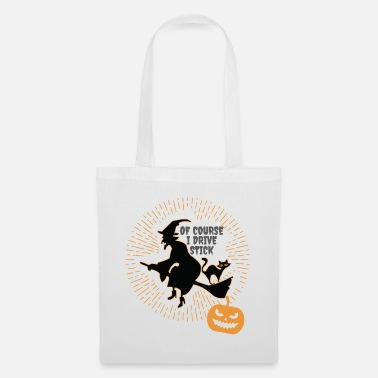 Driving Witch Halloween Witch On Broom Halloween Gift Of Course I Drive - Tote Bag