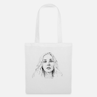 Pretty girl dotwork artwork - Tote Bag