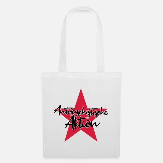 Politics Bags & Backpacks - Antifascist action - Tote Bag white