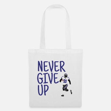 Never Give Up - American Football (blauw) - Stoffentas