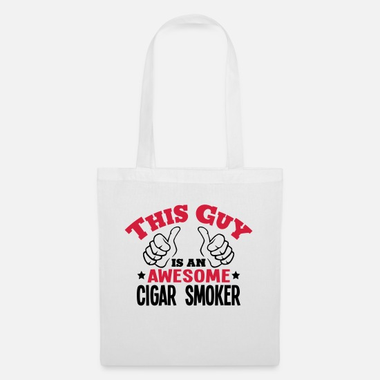Smoking Bags & Backpacks - this guy is an awesome cigar smoker 2col - Tote Bag white