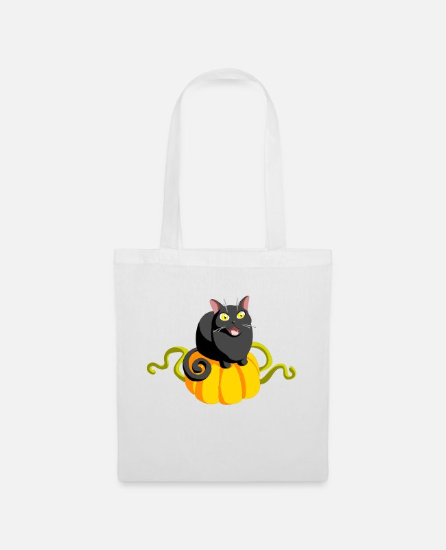Take Bags & Backpacks - Cat with pumpkin - Cat and Pumpkin - Tote Bag white