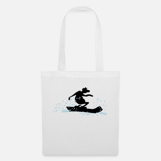 Winter Sports Bags & Backpacks - Funny Pistensau / Funny Snowboarder (2c) - Tote Bag white
