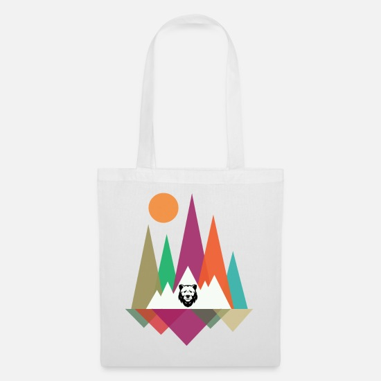 Mountains Bags & Backpacks - Hipster Mountains & Bear - Tote Bag white