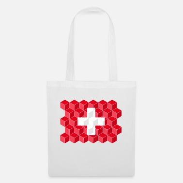 Cube Switzerland National Flag - cube 3D - Tote Bag
