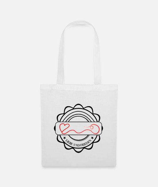 Heart Bags & Backpacks - Love and peace logo with heart - Tote Bag white