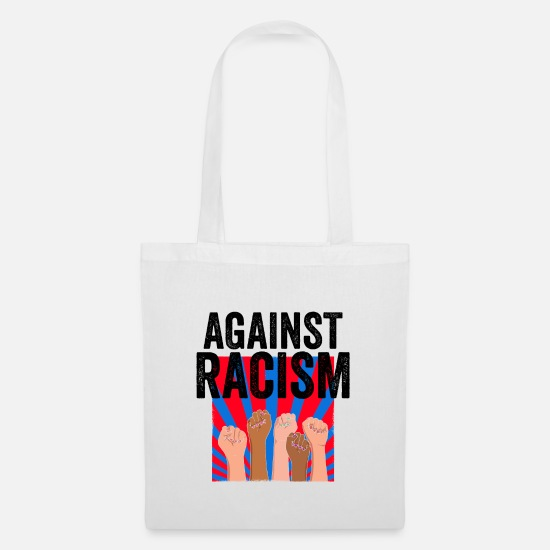 Gift Idea Bags & Backpacks - Anti racism | Antifa Against Right Gift Ideas - Tote Bag white