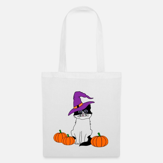Halloween Bags & Backpacks - Halloween Katze - Tote Bag white