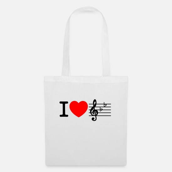 Love Bags & Backpacks - i love music - Tote Bag white