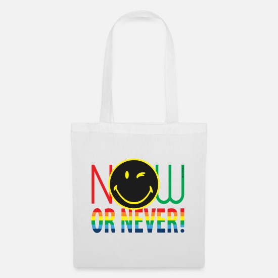 Change Borse & Zaini - SmileyWorld Now Or Never - Borsa di stoffa bianco