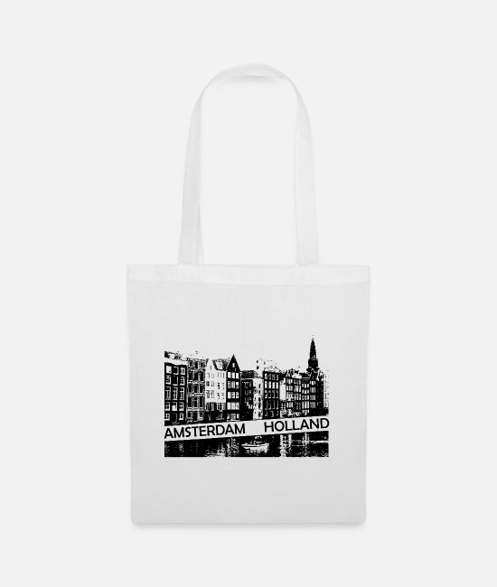 Travel Bug Bags & Backpacks - Amsterdam Canal, houses and boat Holland - Tote Bag white