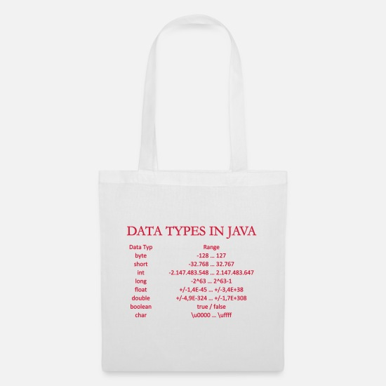 Java Bags & Backpacks - DATA TYPES IN JAVA (v) - Tote Bag white