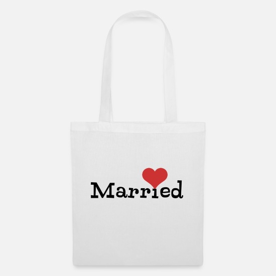 Bride Bags & Backpacks - Just Married With Heart - Tote Bag white