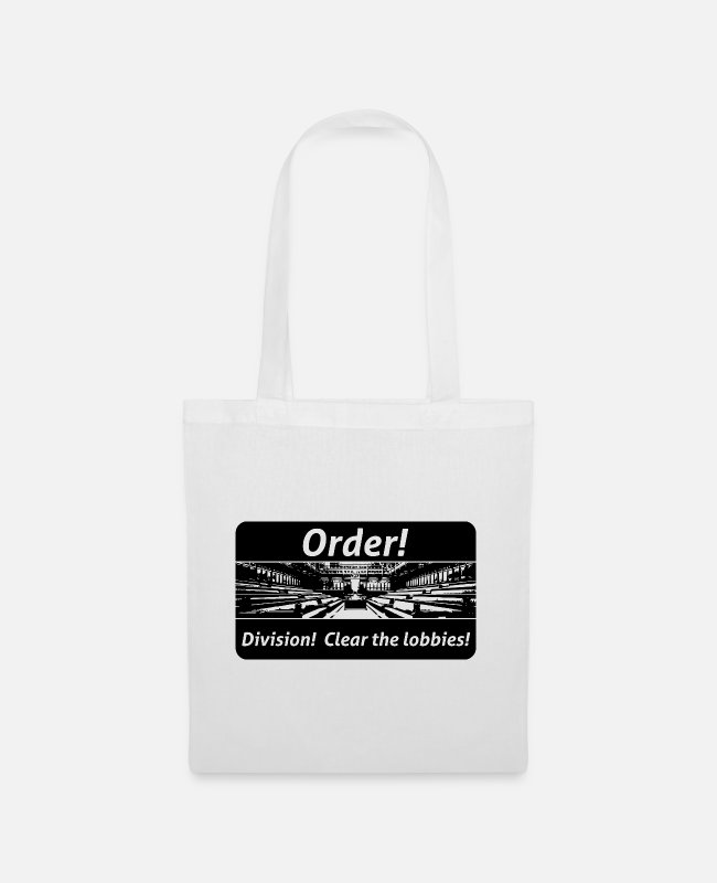 Travel Bug Bags & Backpacks - Order! Division! Clear the lobbies UK - Tote Bag white