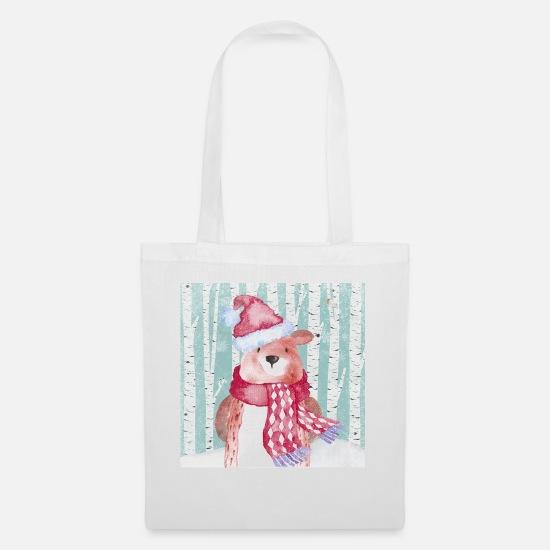 Christmas Collection Bags & Backpacks - Forest friends in the winter forest - The cozy bear - Tote Bag white