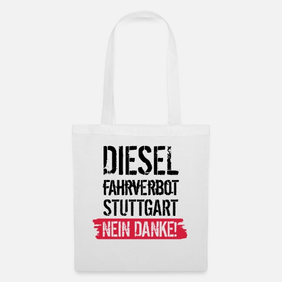 Diesel Bags & Backpacks - Diesel driving ban, no thanks! Against diesel ban - Tote Bag white