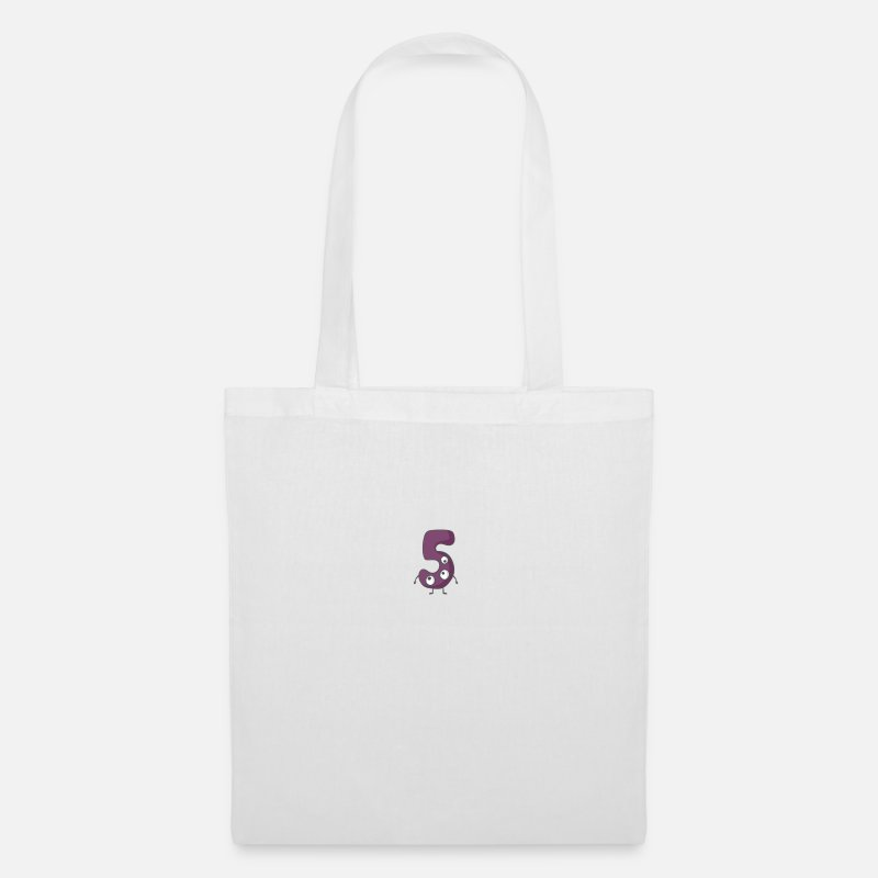 Animal Bags & Backpacks - Funny monster number 5 - Tote Bag white