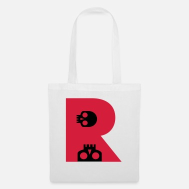 Bone ☠♥Awesome Skull Alphabet Initial Letter-R♥☠ - Tote Bag