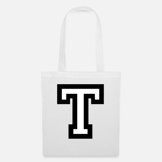 Name Bags & Backpacks - Letter T two-color - Tote Bag white