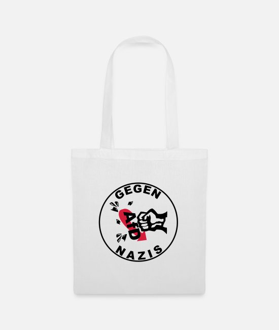 Antifa Bags & Backpacks - Against Nazis - Against AfD - Against Right Nazis out - Tote Bag white