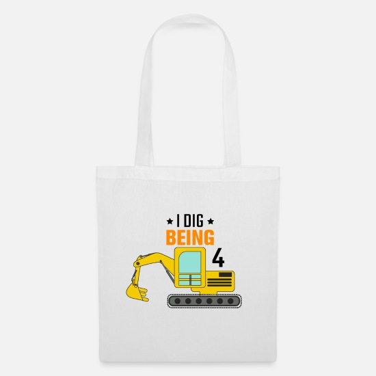 Kindergarten Bags & Backpacks - Excavator 4th birthday - Tote Bag white