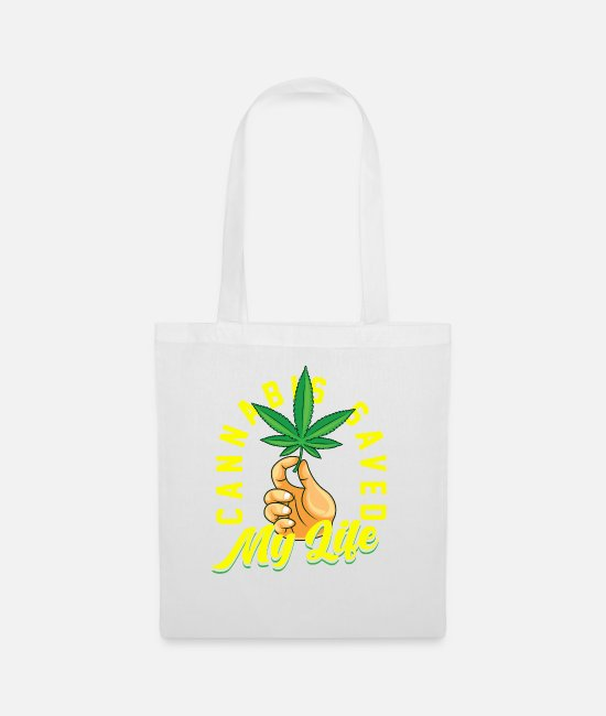 Trippy Bags & Backpacks - Cannabis saved my life - Tote Bag white