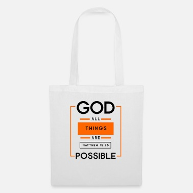 Bible Everything is possible with God, Christian, Bible, - Tote Bag