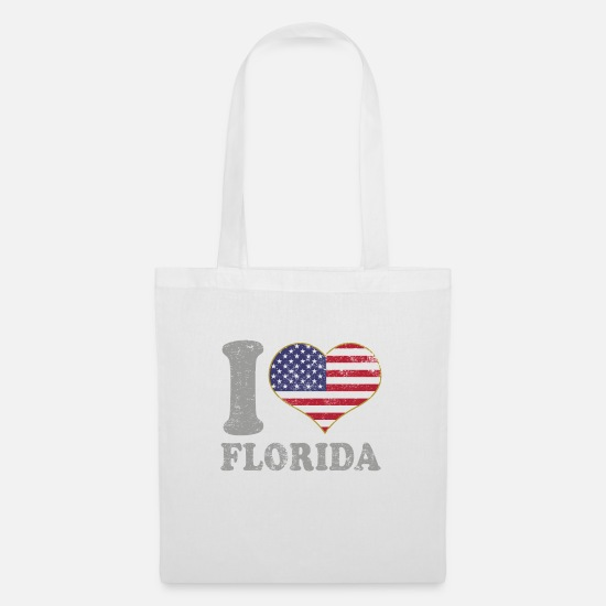 Patriot Bags & Backpacks - I Heart Florida State Pride July 4th American Flag - Tote Bag white