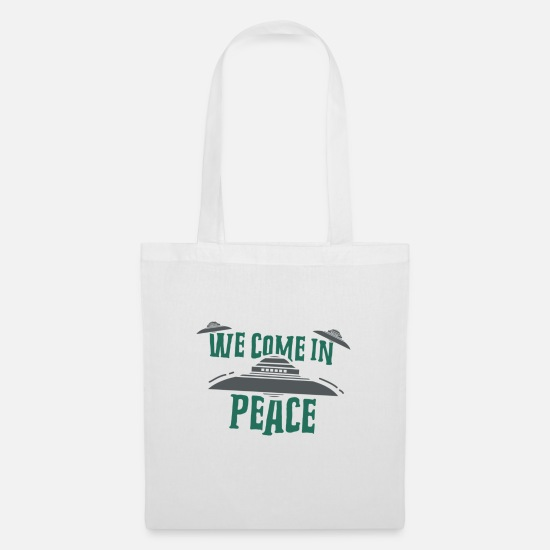 Space Ship Bags & Backpacks - Haunebu Vril Reichsflugscheibe UFO Come in Peace - Tote Bag white