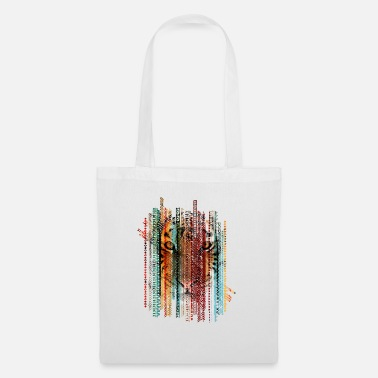 Texture Tiger portrait on tribal ethnic pattern texture - Tote Bag