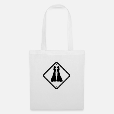 Kiss Warning lesbian notice sign caution 2 girlfriend - Tote Bag