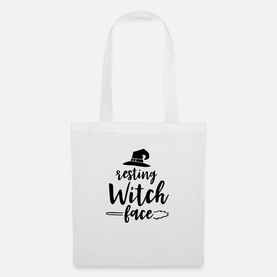 Witches Broom Bags & Backpacks - Resting witch face - Tote Bag white