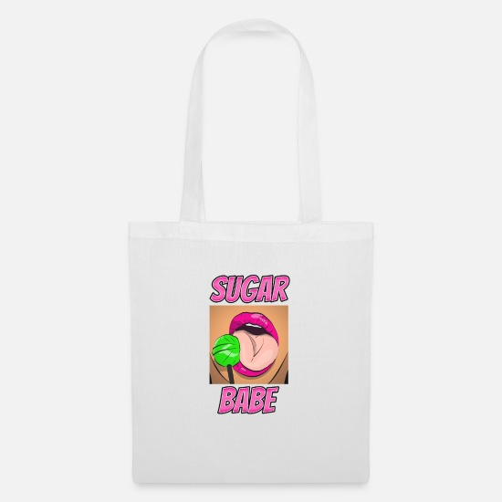 Gift Idea Bags & Backpacks - Sugar babe sexy lollipop licking pun - Tote Bag white