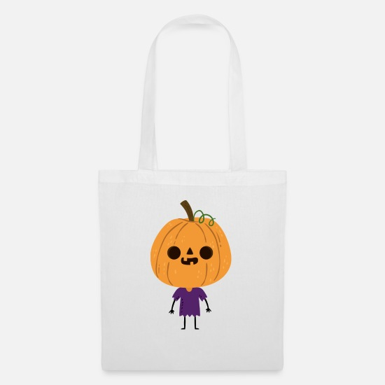Witches Broom Bags & Backpacks - Sweet little laughing pumpkin head kid - Tote Bag white