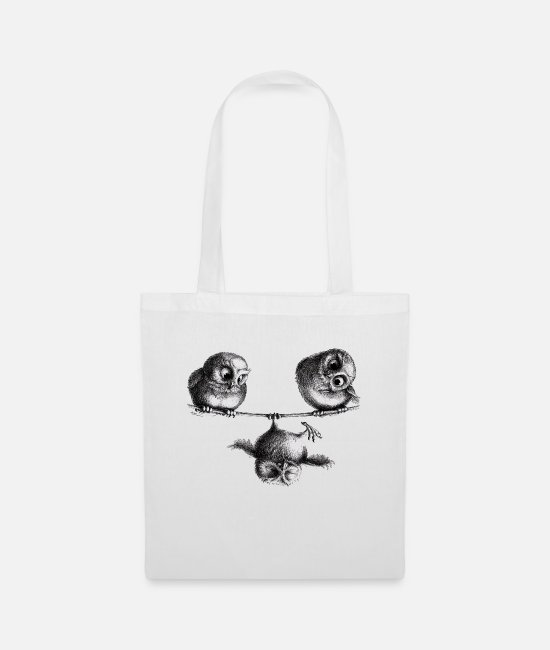 Month Bags & Backpacks - three owls - freedom and fun - Tote Bag white