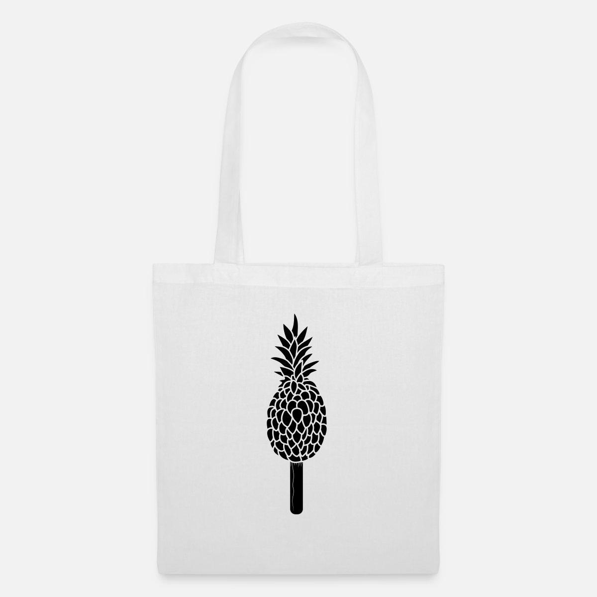 schwarz cool eiscreme eis am stiel eis ananas leck Stoffbeutel Weiß