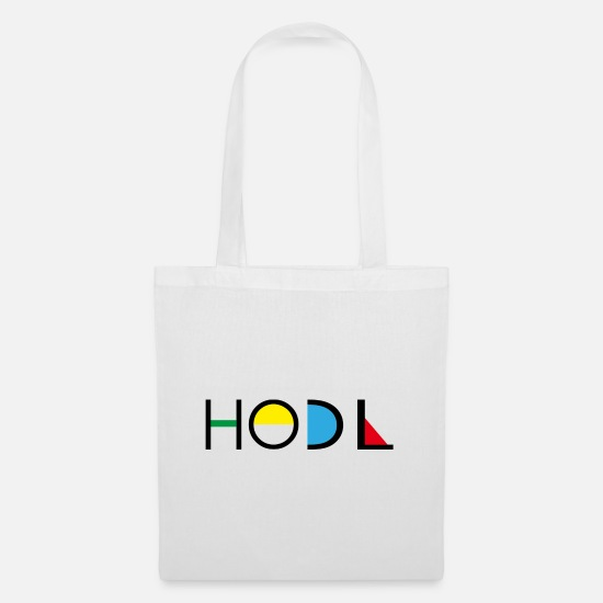 Art Bags & Backpacks - Art Art Hodl Bitcoin Design lettering black - Tote Bag white