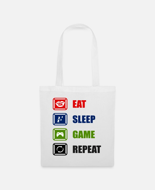 Headset Bags & Backpacks - Eat Sleep Game Repeat - Tote Bag white