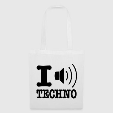I love techno / I speaker techno - Bolsa de tela