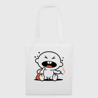 A crying baby with cigarette and alcohol - Tote Bag