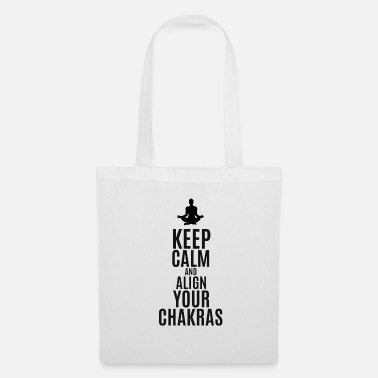 Writing Keep calm and align your chakras yoga meditation - Tote Bag