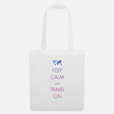 Slogan Keep calm and travel on - Stoffbeutel