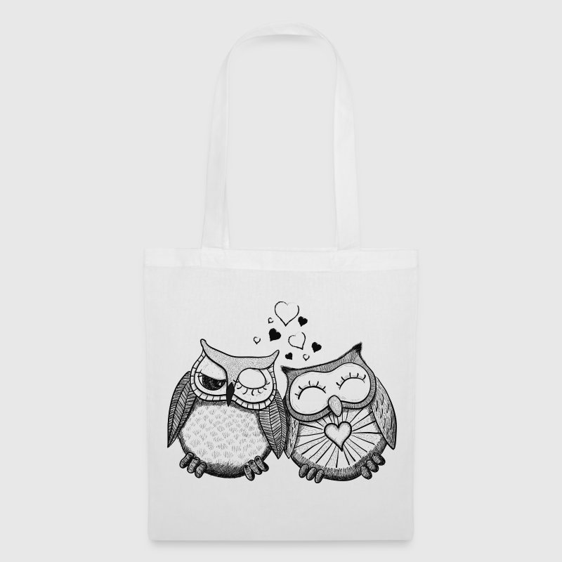 owls in love  gufi in amore  - Borsa di stoffa