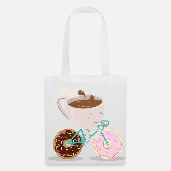 d5890ca2e4abfa Festa Della Mamma Borse & Zaini - Donut Coffee Bicycle - Borsa di stoffa  bianco