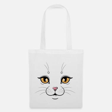 Illustration Cute Cat Face Illustration - Torba z tkaniny