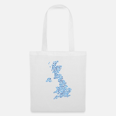 Null Binary word cloud in null map form (blue) - Tote Bag