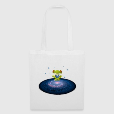 Frog meditates in the universe with stars - Tote Bag