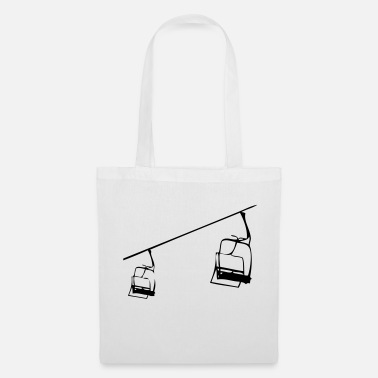 Retro Retro ski lift - chairlift illustration - Tote Bag